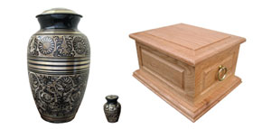 Brass and wooden urns